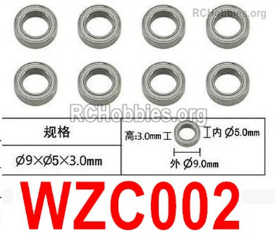 Subotech BG1525 Ball bearing Parts. WZC002. With a size of 5X9X3MM. Total 8pcs.